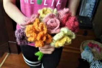 Sophie -- handspun and crocheted flowers